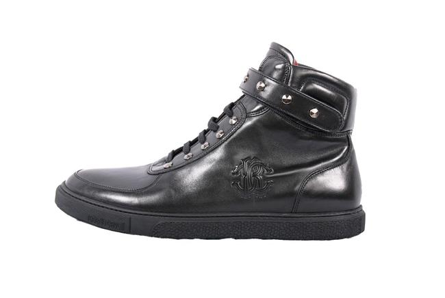 Item - Black New Leather Studded High Top Sneakers Shoes