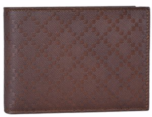 Gucci Gucci Men's 292534 Brown Leather Diamante W/Coin Large Bifold Wallet