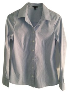 Ann Taylor Button Down Shirt Blue/White