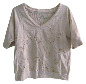 Anthropologie Picnic Girly Neutral Floral Beige Top Cream