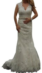 Maggie Sottero Ivory Over Light Gold : Jessica Modern Wedding Dress Size 6 (S)