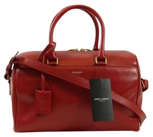 Saint Laurent Ysl Duffle Satchel in Red