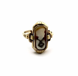 Antique Cameo Two Sided 10k Gold Onyx Gemstone Ring Jewelry
