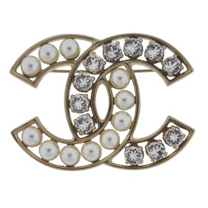 Chanel Chanel Large CC Pearl Crystal Gold Tone Brooch Pin