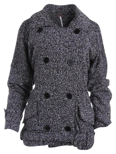 Item - Black and White Speckled Double-breasted Coat Size 12 (L)