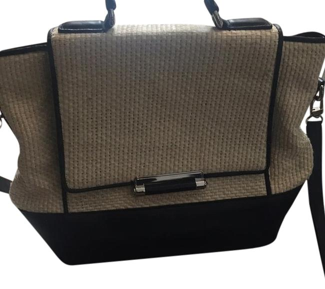 Item - Natural White/ Black Leather/ Woven Satchel