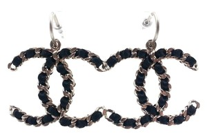 Chanel Chanel Silver CC Black Ribbon Dangle Large Piercing Earrings