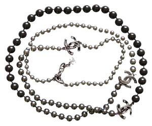Chanel Chanel Classic Grey/Black Pearl Long Necklace with 3 CC Logos 42