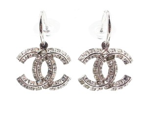 Chanel Chanel Silver Princess Crystal CC Dangle Piercing Earrings
