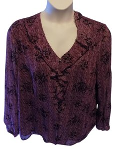 Sag Harbor Tunic Cowl Solid Stretchy Top Purple