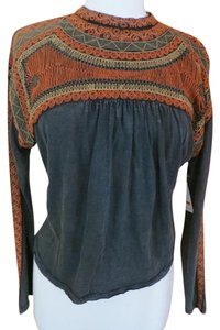 Free People Peasant Boho Embroidered Top Faded Black