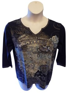 Christopher & Banks Pullover Cotton Casual Whimsical 3/4 Sleeve T Shirt Blue