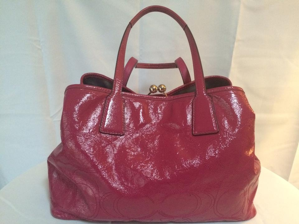 c0daad025124 Coach Signature Stitch Frame Carryall (F15658) Berry Patent Leather Tote -  Tradesy