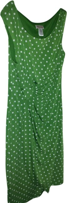 Item - Green with White Pooka Dots Knee Length Work/Office Dress Size 12 (L)