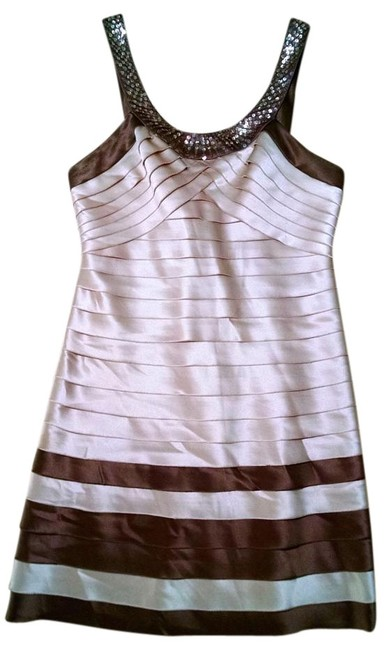 Item - Beige Brown Cocktail Small Sleeveless P1631 Mid-length Night Out Dress Size 6 (S)