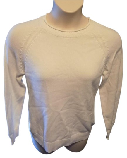 7b652c1a9d8 Kim Rogers Crewneck Solid Off White Long Sleeve Casual Sweater high-quality