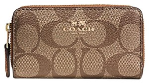 Coach SMALL DOUBLE ZIP COIN CASE IN SIGNATURE F63975