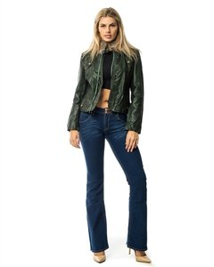 Hippie Boho Biker Green Leather Jacket