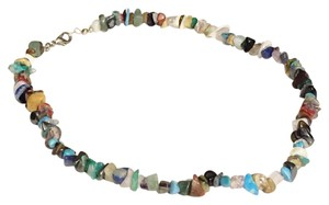 Other Chip Stone Bead Necklace Silver Authentic