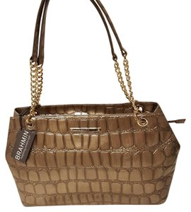 Brahmin Chain Detail Handles Large Leather Shoulder Bag