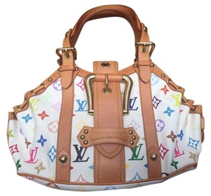Louis Vuitton Theda White Gm Satchel in Multicolor