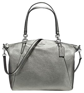 Coach Grain Leather Tote in Silver