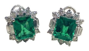 Other Natural Beryl Emerald White Gold Diamond Earrings