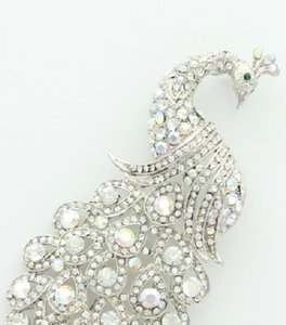 Rhinestone Crystal Ab Peacock Brooch Pin