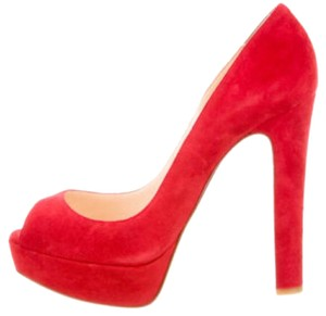 Red suede Christian Louboutin peep toe platform pumps with covered heels. Comes with dust bag. Pumps