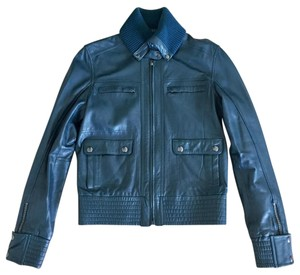 Mango Moto Motorcycle Fall Forest Green Leather Jacket