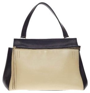 Cline Celine Leather Satchel in Black and White