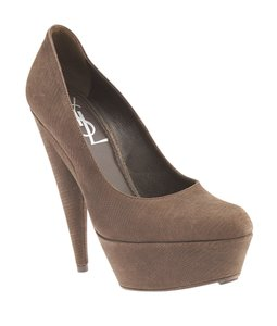 Saint Laurent Pump Platform Ysl Brown Pumps
