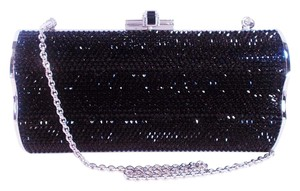 Judith Leiber Swarovski Crystal Hard Case Black Clutch