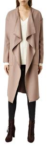 AllSaints Fall Wrap Wool Belted Camel Trench Coat