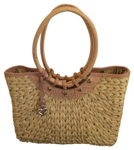 Brighton Tote in Pink & Straw