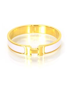Herms Hermes White and Goldtone H Clic Clac Bracelet