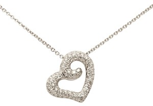 88 ROUND DIAMOND .45 CARAT HEART PENDANT 14KT WHITE GOLD NECKLACE