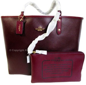Coach Reversible F36609 City Tote in Oxblood / Burgundy