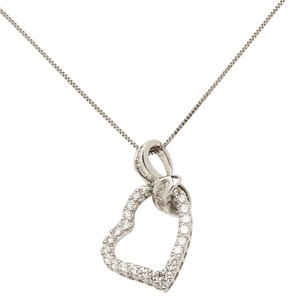 Other 15 BAGUETTE & 24 ROUND DIAMOND HEART PENDANT 18KT WHITE GOLD NECKLACE