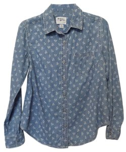 Holding Horses Anthropologie Shirt Button Up Medium Button Down Shirt Blue & white