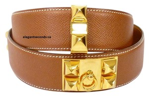 Herms 78CM CLEARANCE SALE HERMES COLLIER De CHIEN MEDORU BROWN BELT