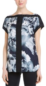 Marchesa Voyage Silk Boatneck Abstract Top gray