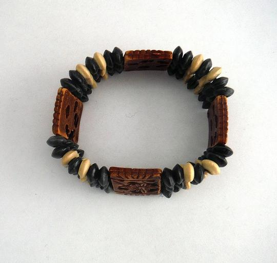 Other Carved wood earthy stretch bangle bracelet