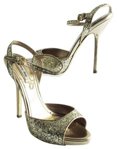 Miu Miu Slingback Stiletto High Heels Gold Platforms