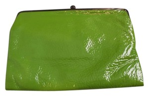 Hobo International Patent Leather Multi Compartments Multi Pockets Fabric Lining Green Clutch