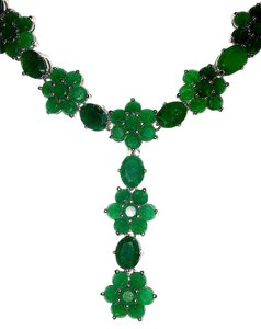 Elegant Natural Emerald Sterling Silver 14K Gold Necklace