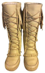 Canadian Fringe Shearling Boot Leather Mocassin Beige Boots