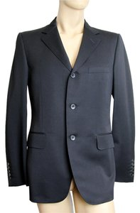 Gucci 3 Button Wool Suit Black Blazer