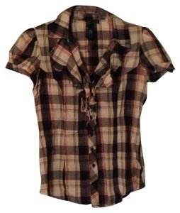 Guess Button Down Shirt Black, tan, red, plaid