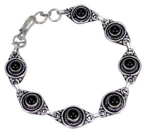 Other Black Onyx and 925 Sterling Silver Bracelet